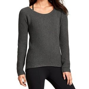 Athleta Huntly Ribbed Knit High Low Gray Sweater